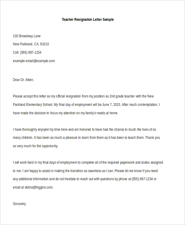 Teacher Resignation Letter Sample  Teacher Resignation Letter