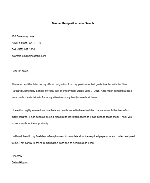 Sample Letters Of Resignation   Free Documents In Doc