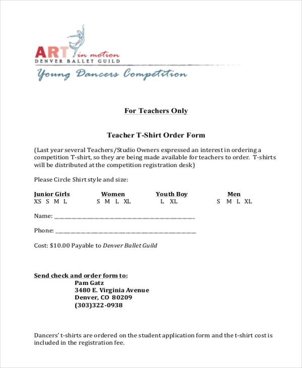teacher t shirt order form