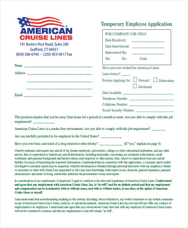 temporary employee application