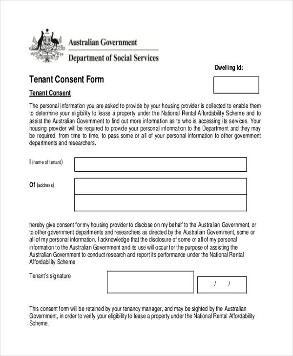 tenant consent form