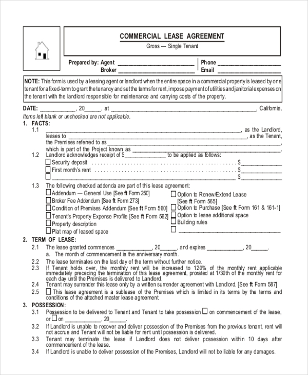 Sample Commercial Lease Agreement Form - 9+ Free Documents In Word