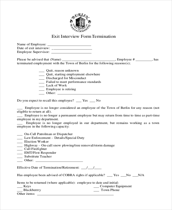 termination exit interview form
