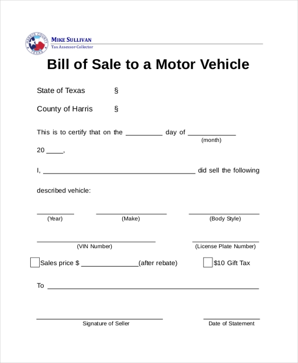 Sample Dmv Bill Of Sale Forms   Free Documents In Pdf
