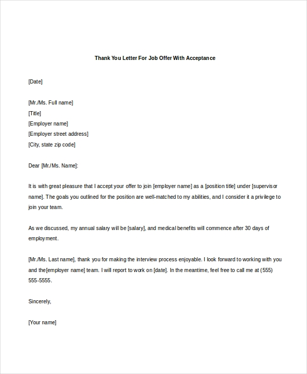 thank you letter for job offer with acceptance