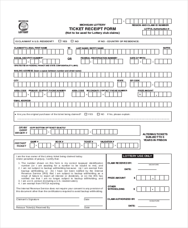ticket deposit receipt form