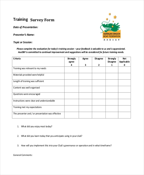 Sample Survey Form   Free Documents In Pdf