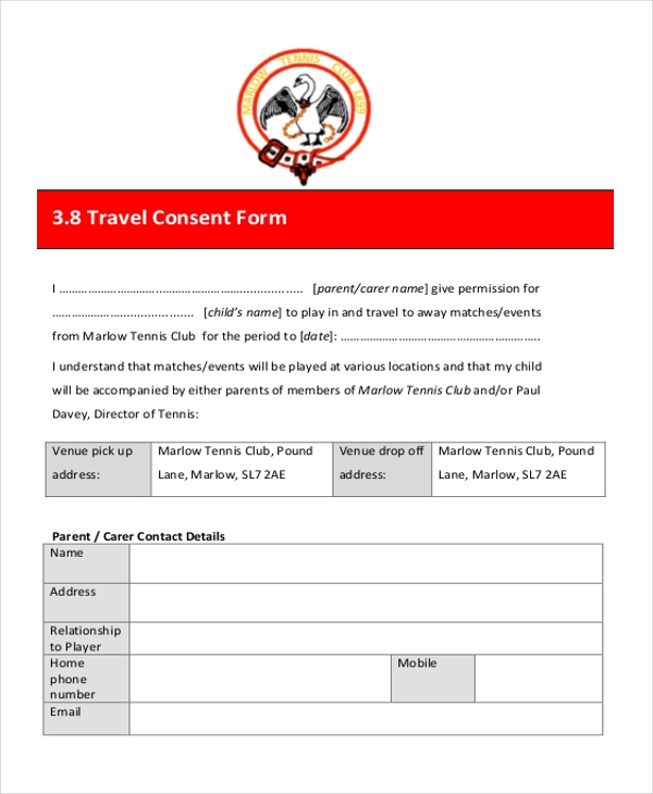 travel consent form
