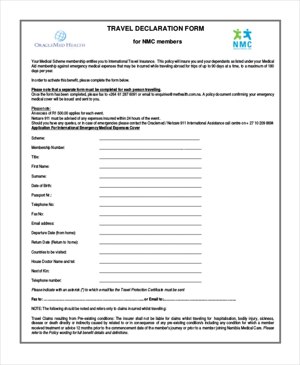 travel declaration form