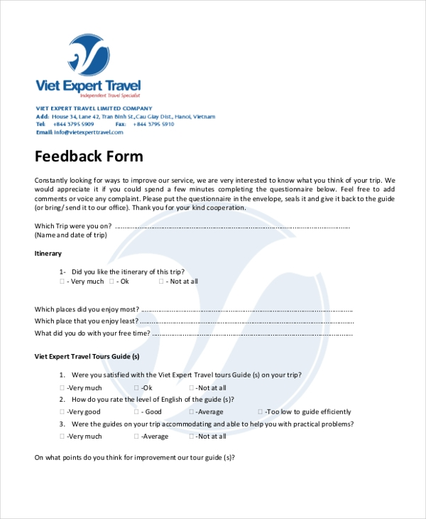 travel feedback form1