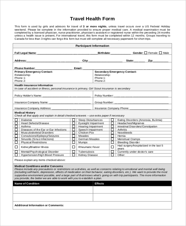 travel health form