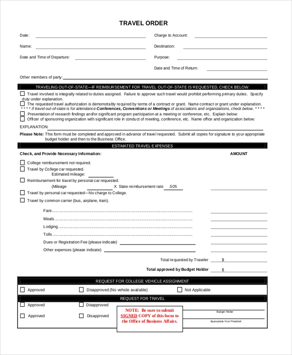 travel order form
