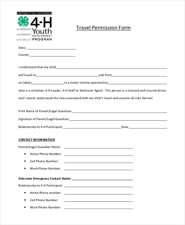travel permission form