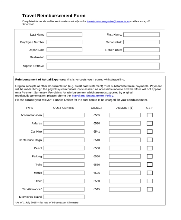 Sample Reimbursement Form - 13+ Free Documents in Doc, PDF