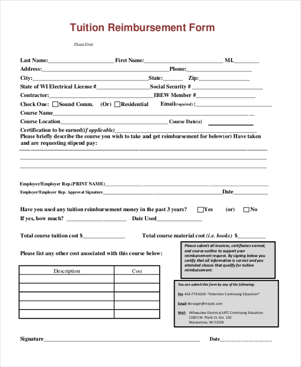 Tuition Reimbursement Form