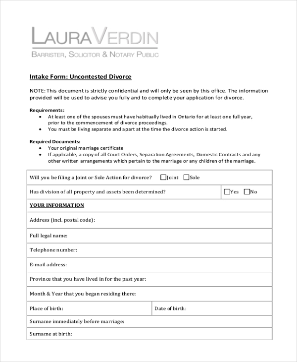 uncontested divorce form