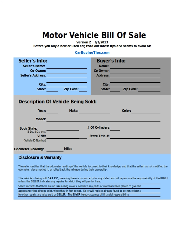 Sample Bill Of Sale Car Form - 7+ Free Documents In Pdf, Doc