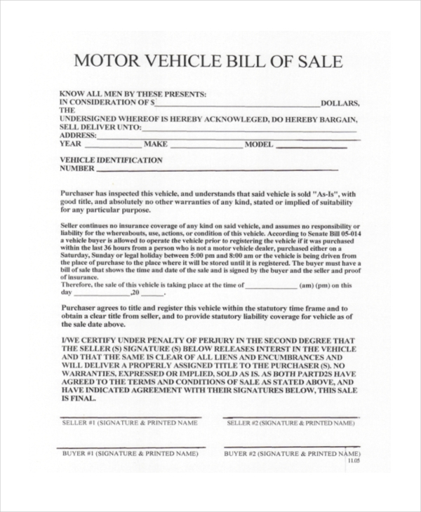 Bill Of Sale Vehicle Form Sample   Free Documents In Pdf Doc