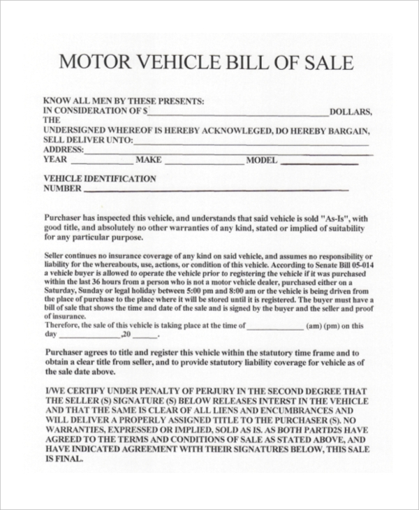used vehicle bill of sale form