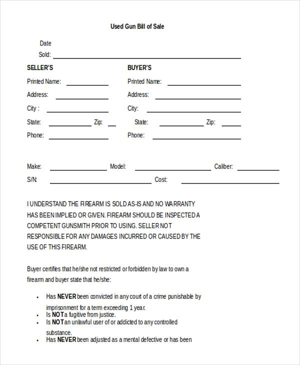 Sample Gun Bill of Sale Form 8 Free Documents in Doc PDF – Bill of Sale for Gun