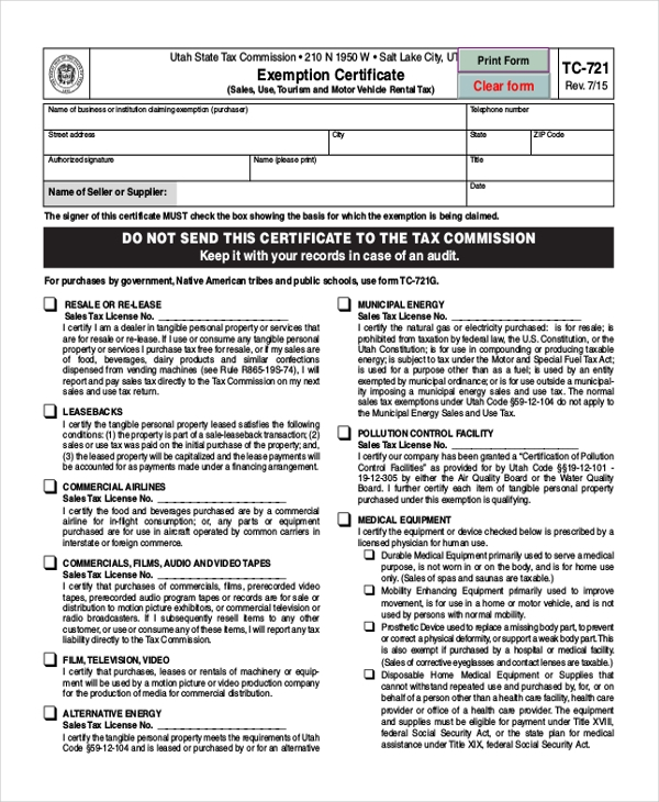 Sample Tax Exemption Form 9 Free Documents in PDF – Exemption Worksheet