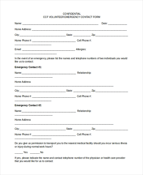 Sample Emergency Contact Form   Free Documents In Word Pdf