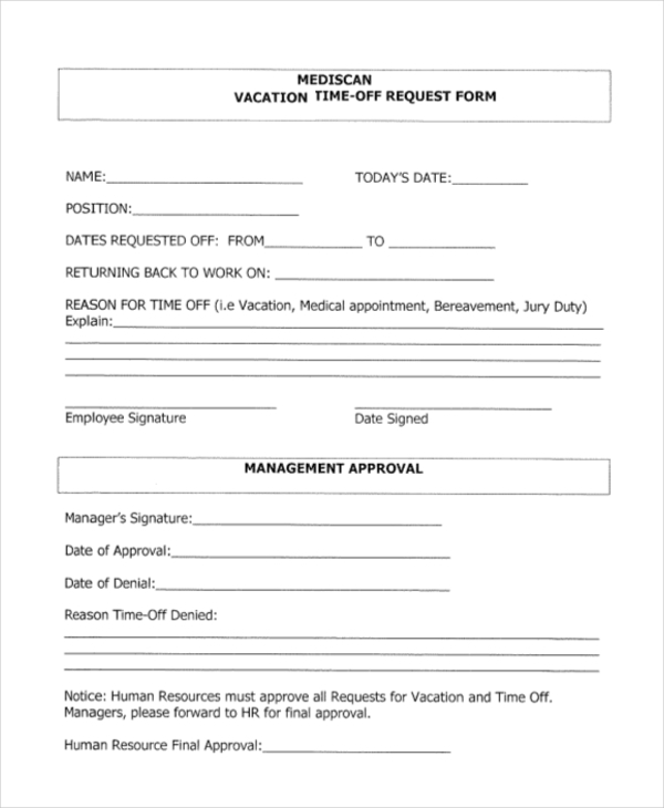 Sample Time Off Request Form   Free Documents In Doc Pdf