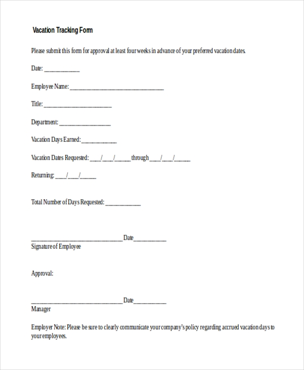 vacation tracking form