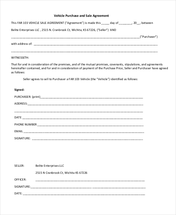 Doc728950 Sample Vehicle Sale Agreement The Used car Sales – Car Sale Agreement Sample