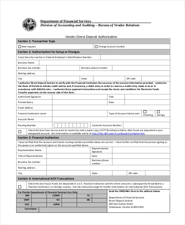 Sample Direct Deposit Authorization Form   Free Documents In Pdf