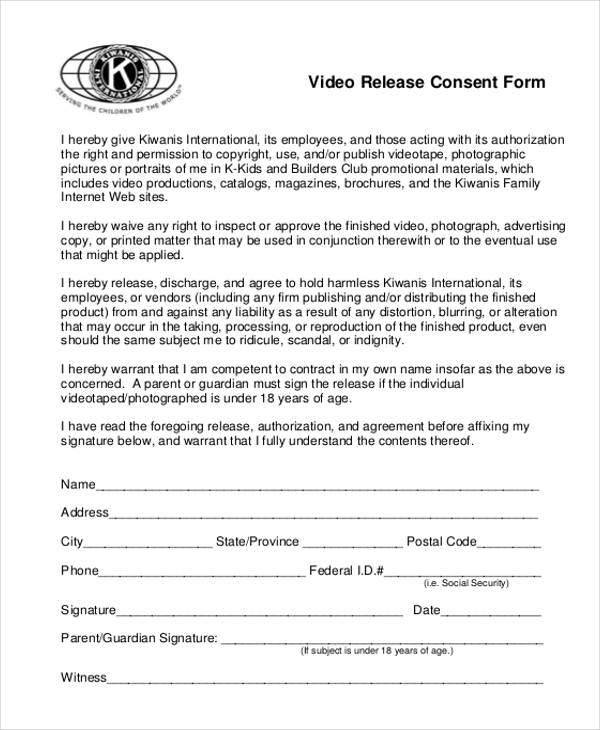 video release consent form