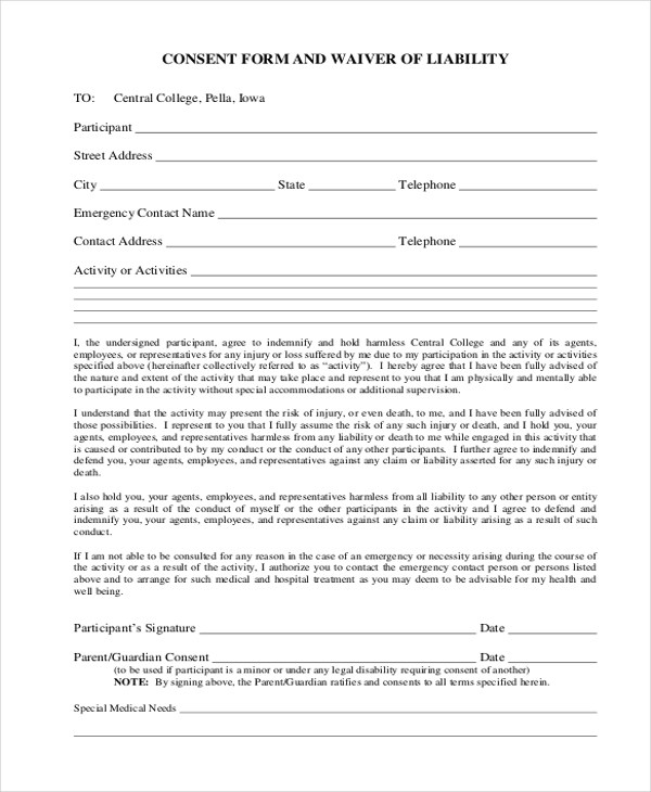Sample Waiver Of Liability Form   Free Documents In Doc Pdf