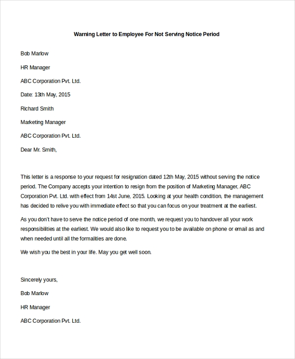 warning letter to employee for not serving notice period