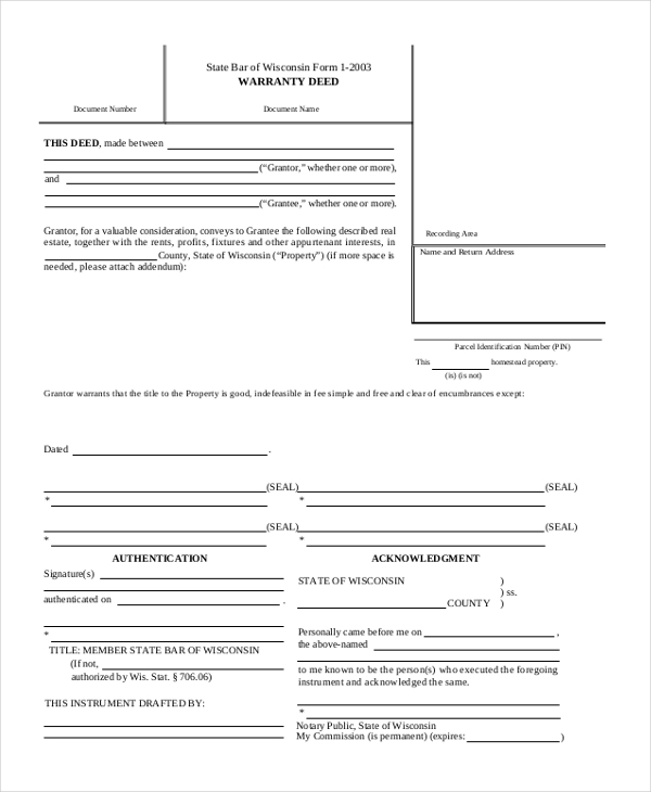 Sample Deed Form   Free Documents In Word Pdf
