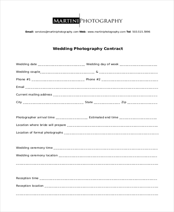 Sample Photography Contract Form   Free Documents In Doc Pdf
