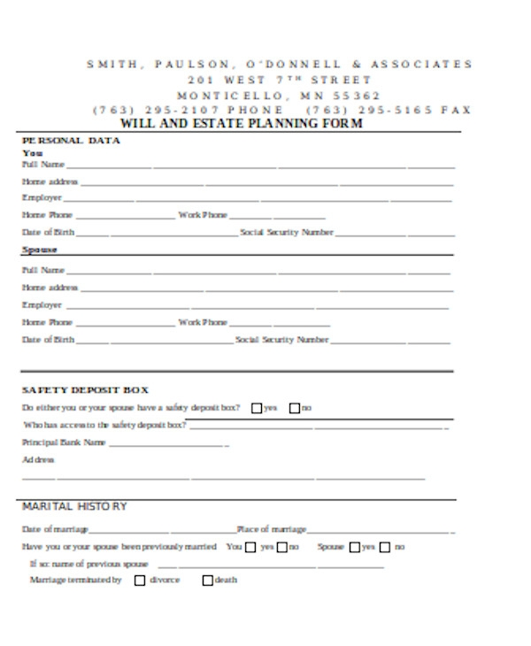 will and trust planning form