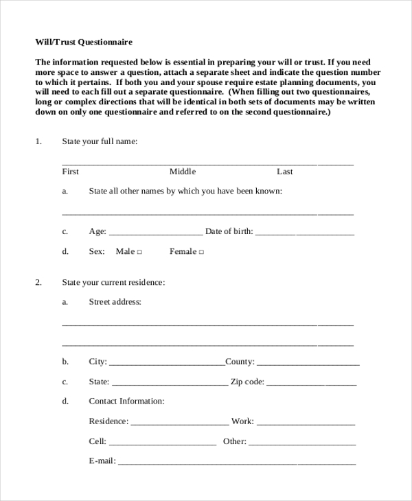 will and trust questionnaire form