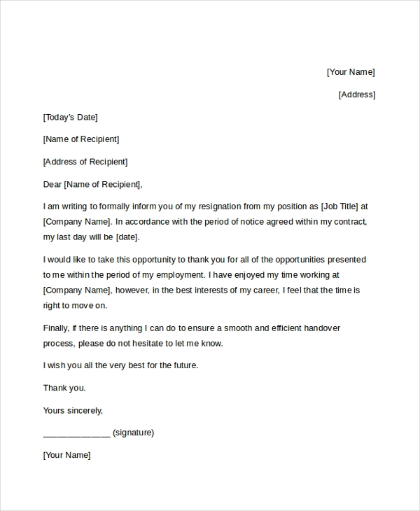 FREE 9+ Sample Letter of Resignation | DOC