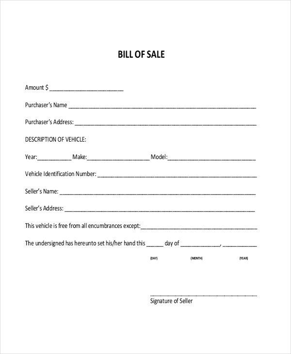 alabama automotive bill of sale Sample DMV Bill of Sale Forms - 8  Free Documents in PDF
