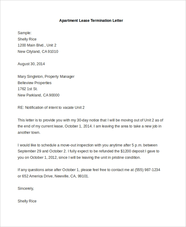 apartment lease termination letter