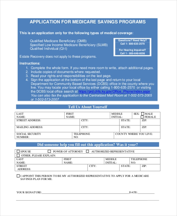 application for medicare savings programs