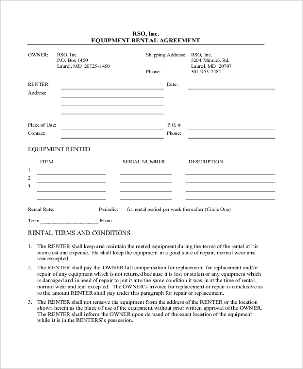 basic equipment rental agreement