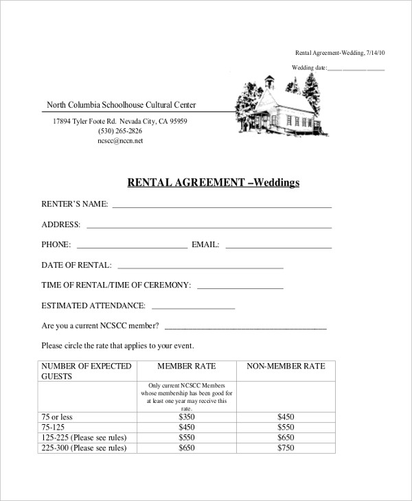 basic rental agreement of wedding