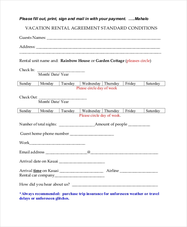 basic vacation rental agreement
