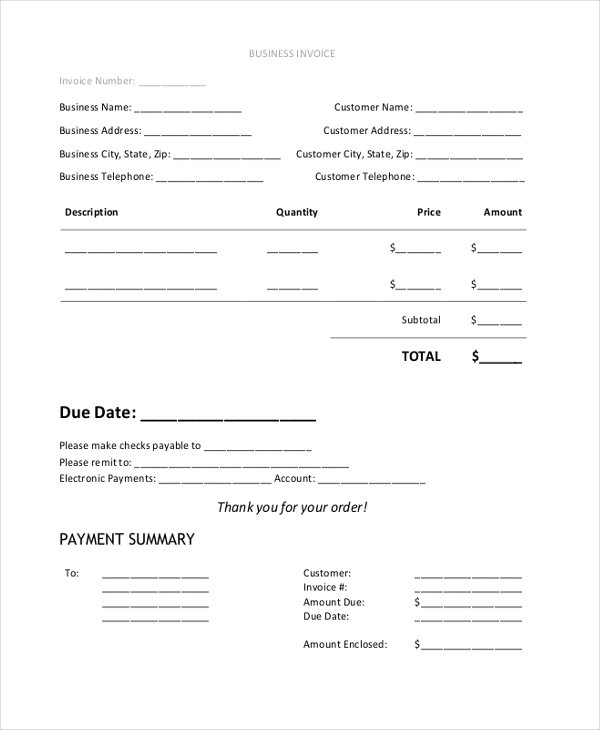 business invoice form1