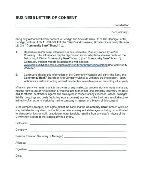 business letter of consent