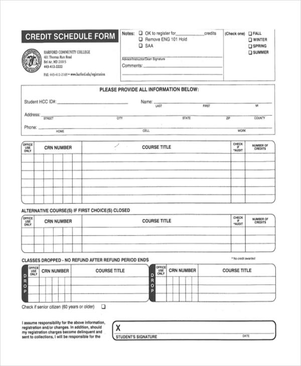 credit schedule form