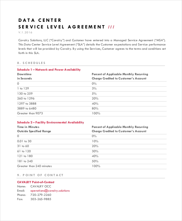 data center service level agreement
