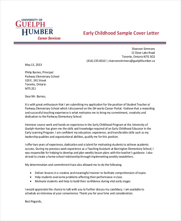 FREE 10+ Sample Teacher Cover Letter