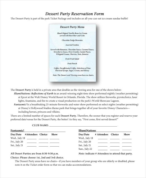 dessert party reservation form